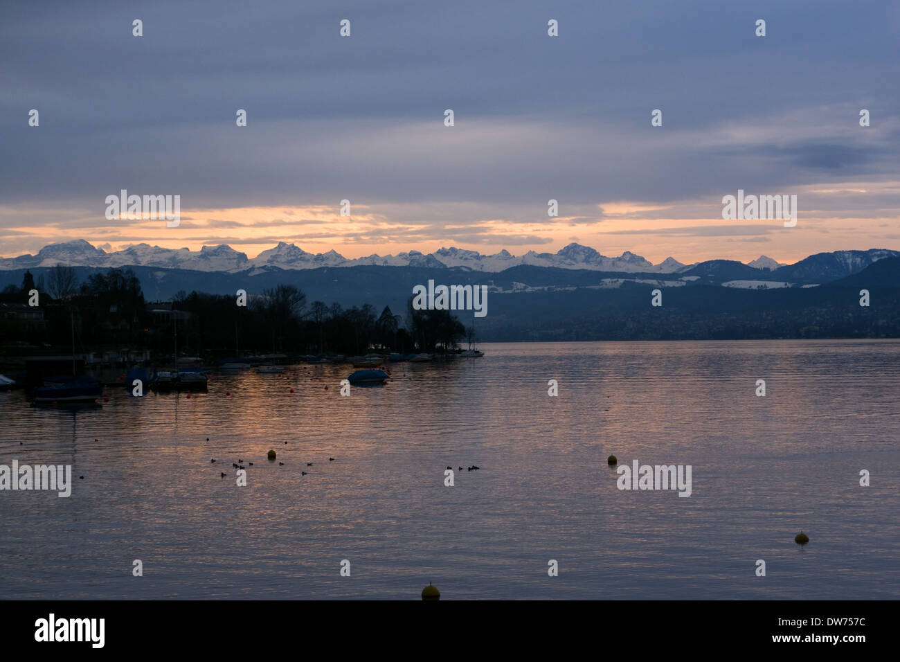 Sunset over Zurich, Switzerland -1 - Stock Image