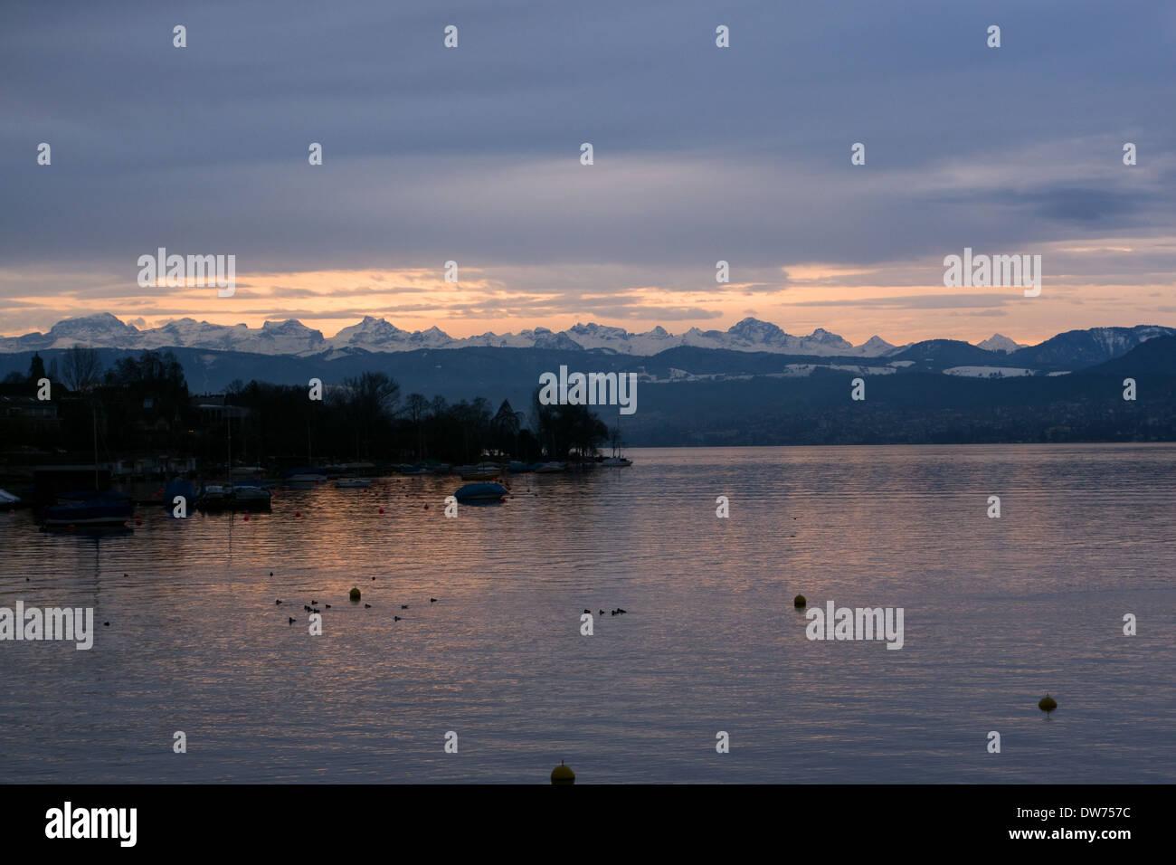 Sunset over Zurich, Switzerland -1Stock Photo