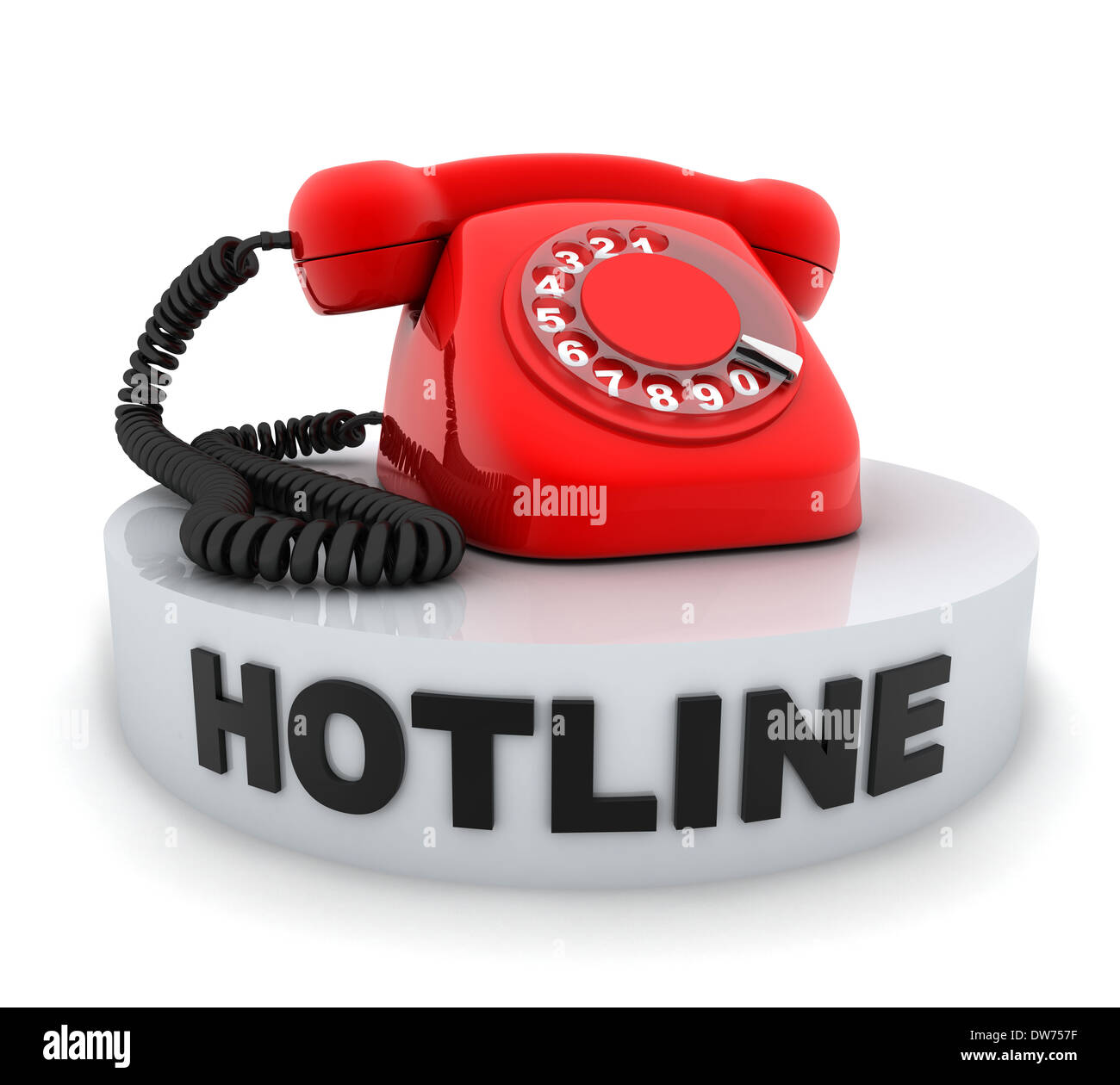 Red old telephone (done in 3d, isolated) - Stock Image