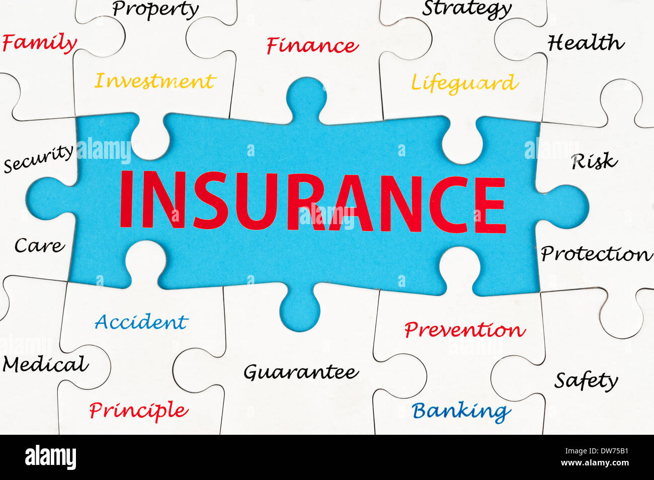 Insurance concept word cloud on group of jigsaw puzzle pieces - Stock Image