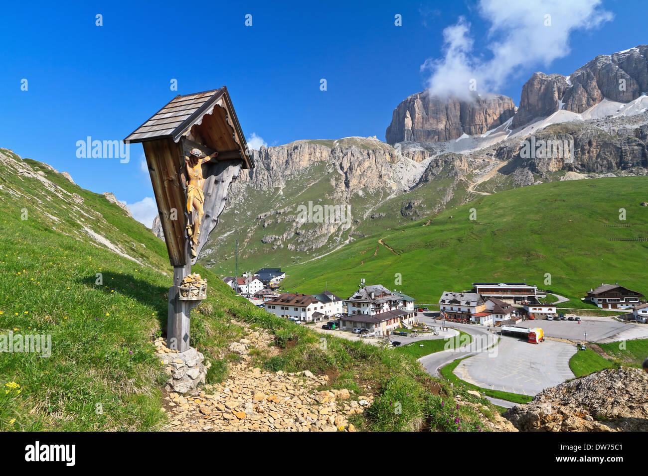 summer view of Pordoi pass, Italian Dolomites - Stock Image