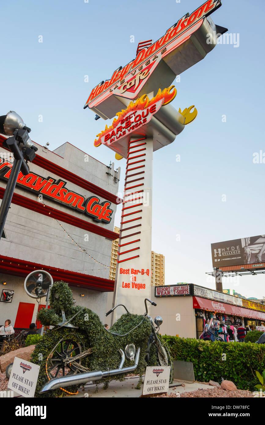 Harley Davidson Cafe, The Strip, Las Vegas, Nevada, USA - Stock Image