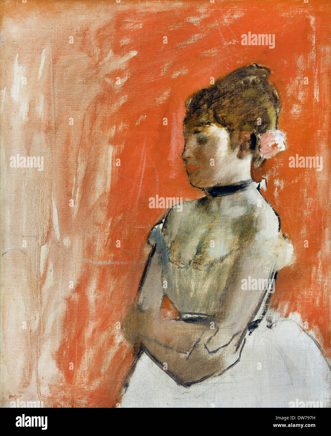 Edgar Degas, Ballet Dancer with Arms Crossed. Circa 1872. Oil on canvas. Museum of Fine Arts Boston, USA. - Stock Image