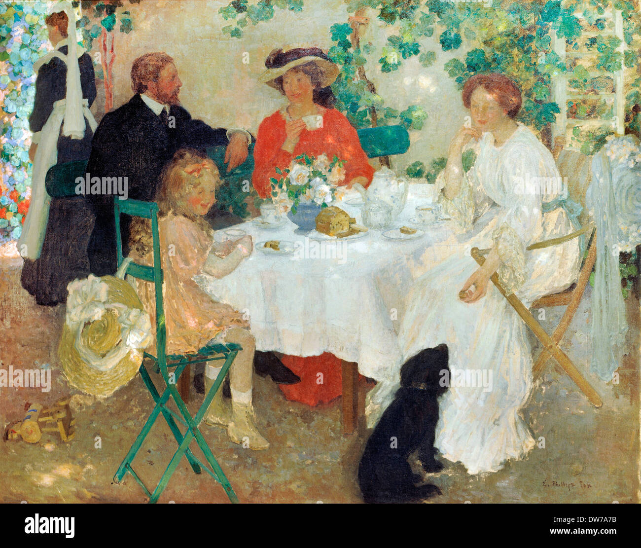 E Phillips Fox, Al Fresco. Circa 1904. Oil on canvas. Art Gallery of South Australia. - Stock Image