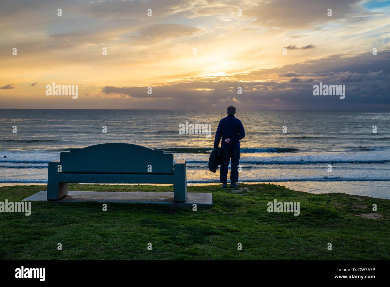 Coastal sunset from Law Street Park. San Diego, California, United States. Stock Photo