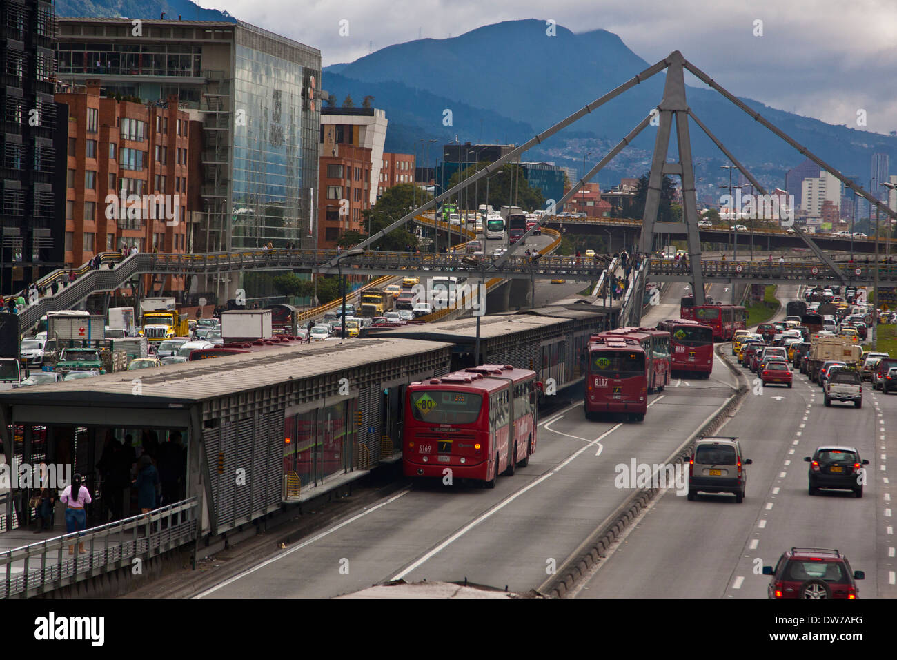 North Bogota, Colombia 100th st transmilenio station afternoon traffic - Stock Image