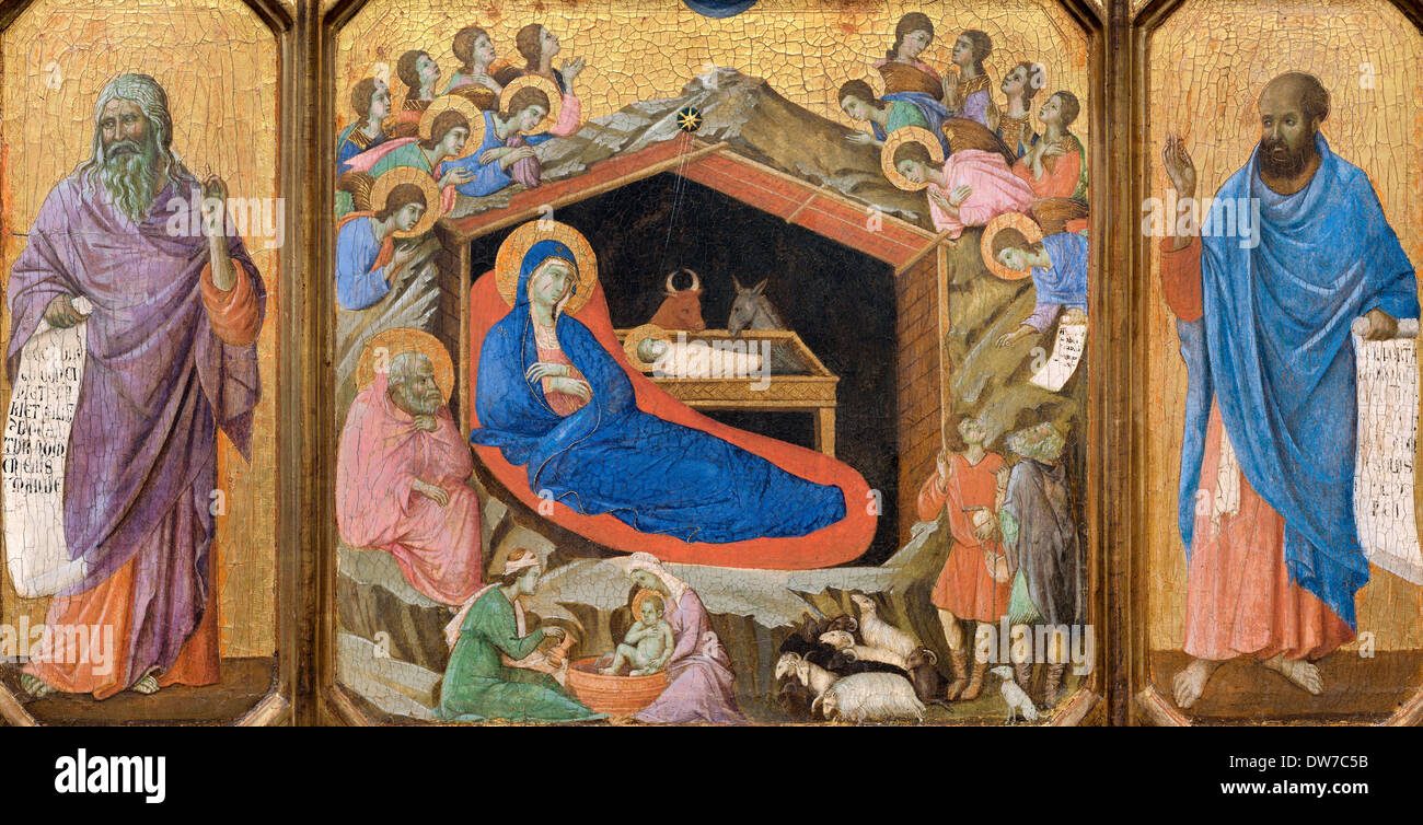Duccio, The Nativity with the Prophets Isaiah and Ezekiel 1308-1311 Tempera on panel. National Gallery of Art, Washington, D.C. - Stock Image