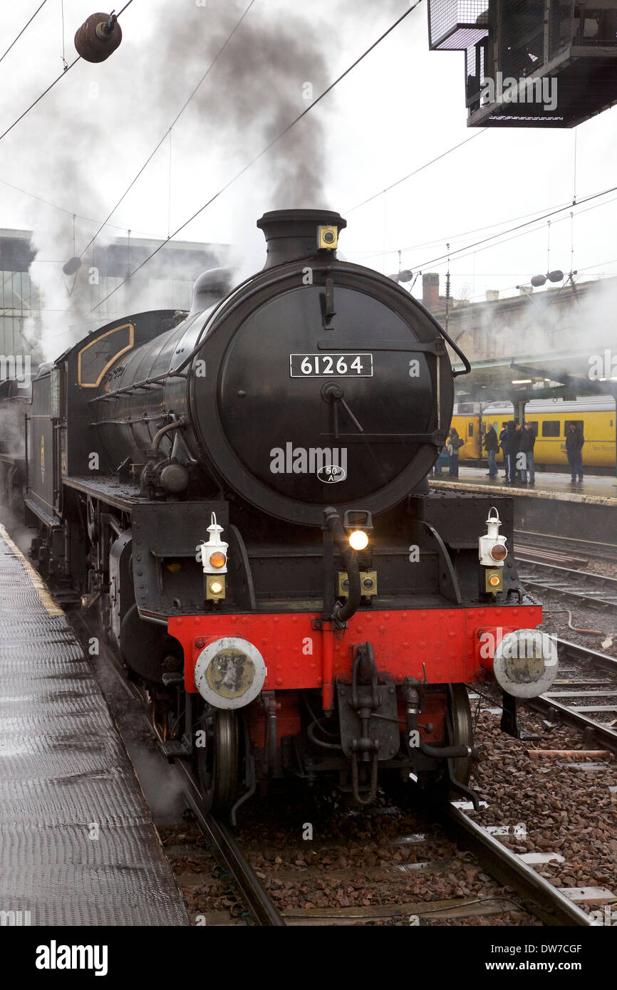 LNER Thompson Class B1 61264 & LMS Stanier Class 5 4-6-0 45407,The Lancashire Fusilier at Carlisle Railway Station, Stock Photo