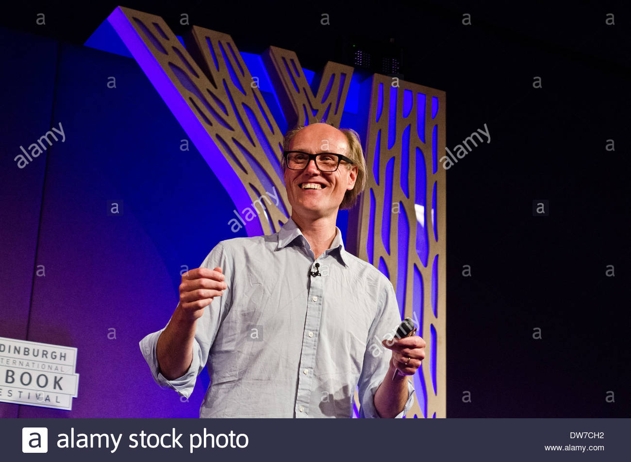 British broadcaster and writer Will Gompertz at the Edinburgh International Book Festival. He is the BBC's arts editor. - Stock Image