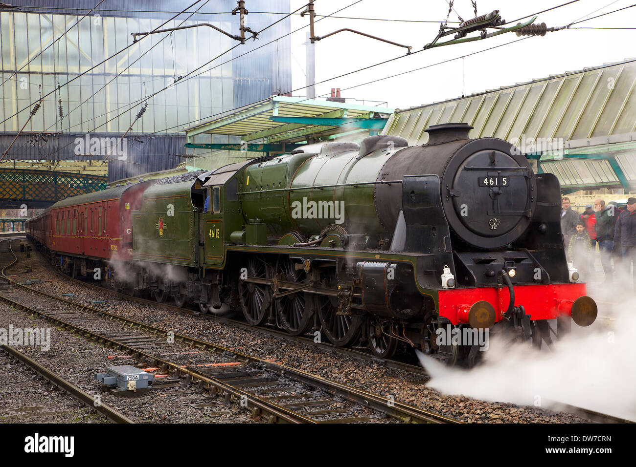 Steam train 46115 Scots Guardsman at Carlisle Railway Station,Carlisle,Cumbria,England,United Kingdom,Great Britain - Stock Image