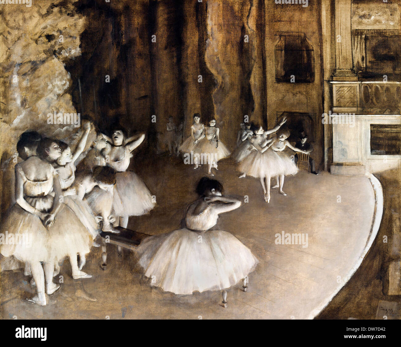 Edgar Degas, Ballet Rehearsal on Stage 1874 Oil on canvas. Musée d'Orsay, Paris, France. - Stock Image