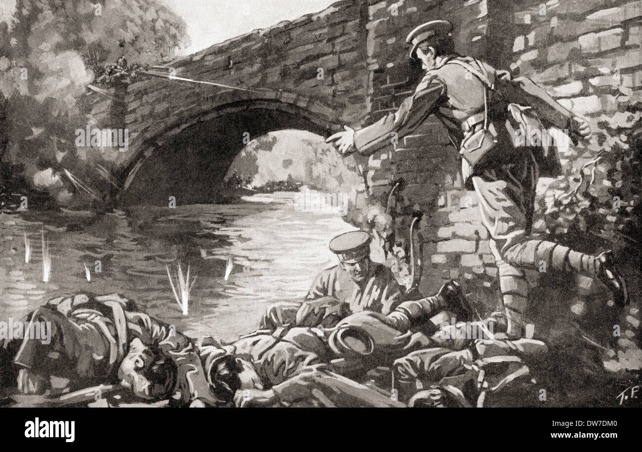 British Royal Engineers killed whilst attempting to light the fuse and blow up a bridge crossing the River Aisne Soissons France - Stock Image