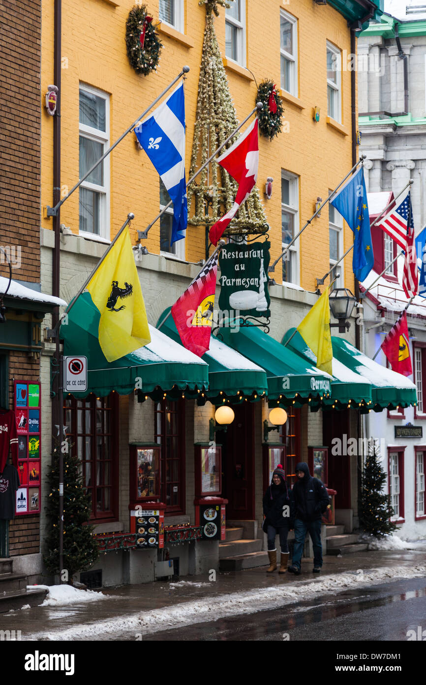 Exterior Of A Restaurant In Old Quebec City Canada Stock Photo