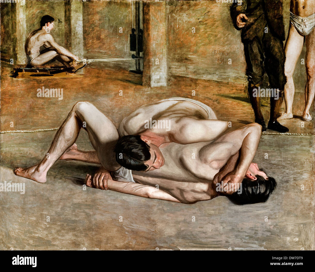 Thomas Eakins, Wrestlers 1899 Oil on canvas. Los Angeles County Museum of Art, Los Angeles, USA. - Stock Image