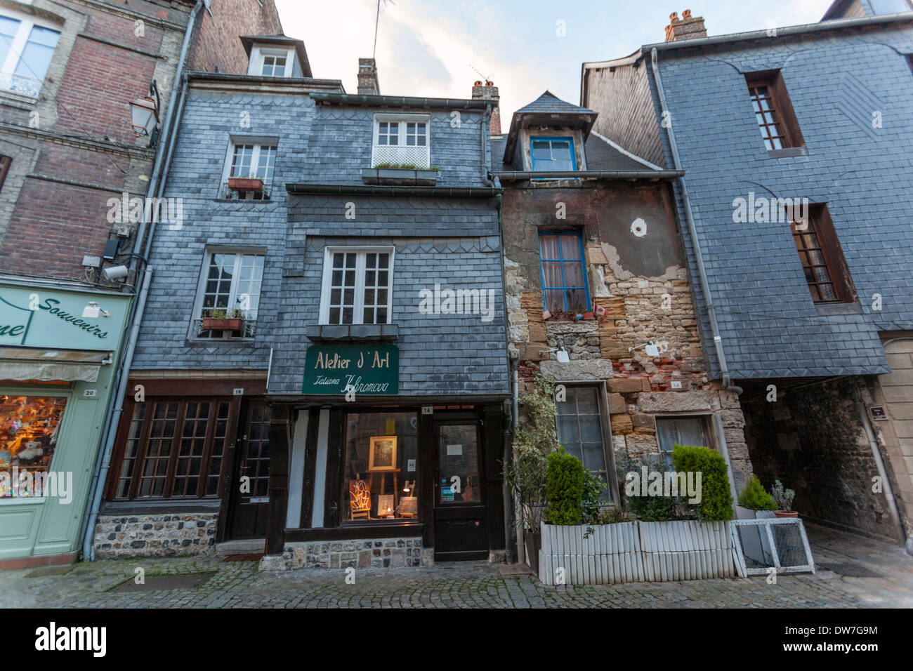 Honfleur is characterized by its houses with slate-covered frontages, Stock Photo