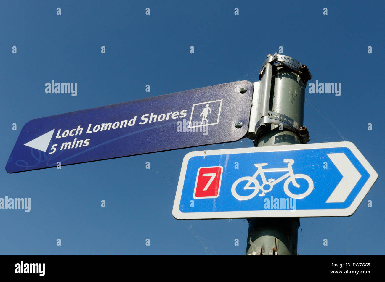 Signs for a cycle path and footpat hto Loch Lomond in Scotland Stock Photo