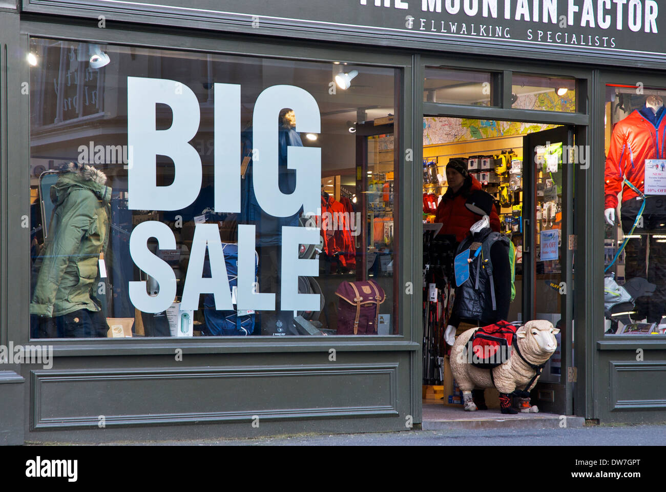 Big Sale - and Herdwick sheep - at outdoor shop, The Mountain Factor, Ambleside, Lake District National Park, Cumbria, England - Stock Image