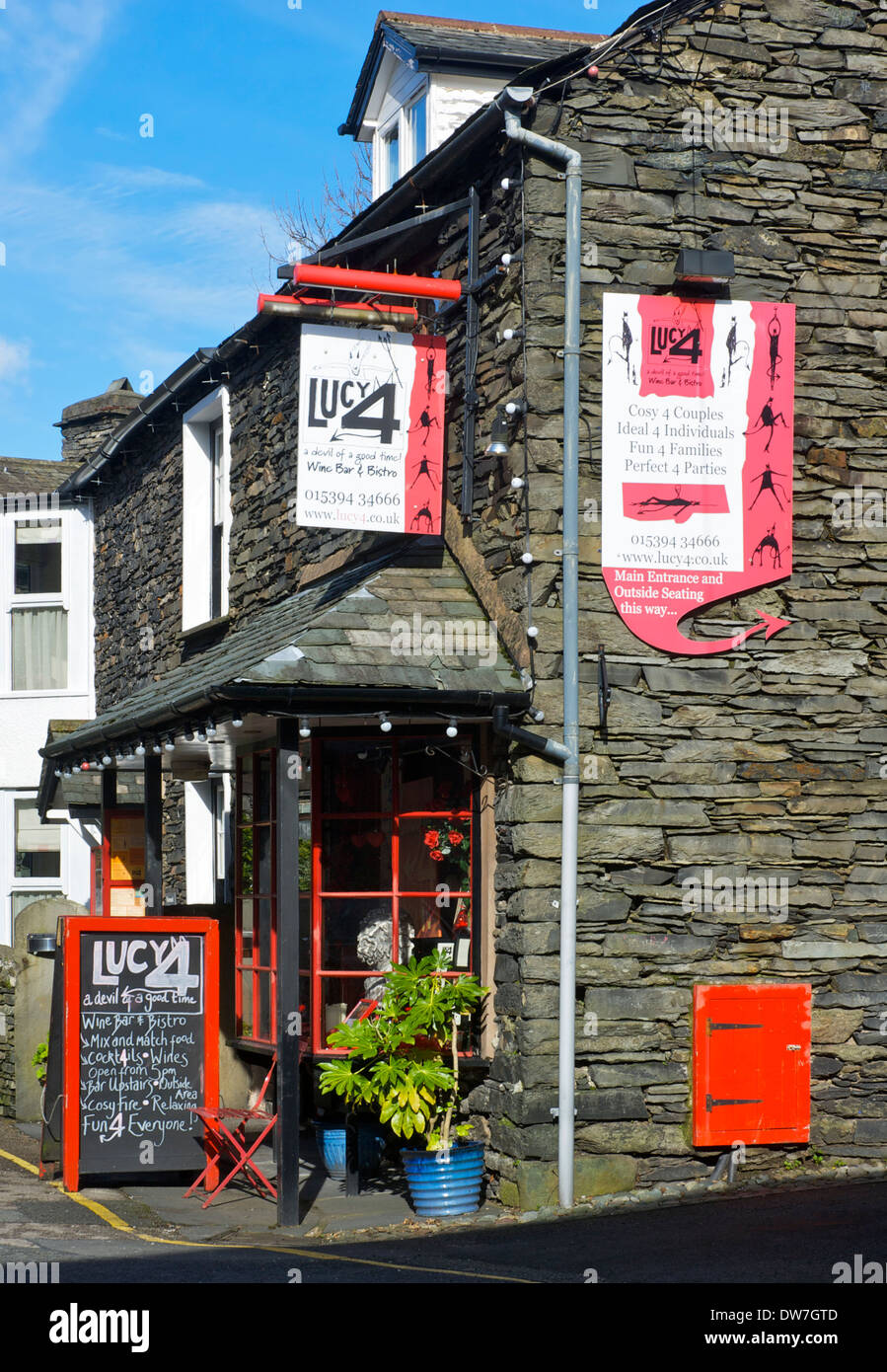 Lucy 4 restaurant and wine bar, Ambleside, Lake District National Park, Cumbria, England UK - Stock Image