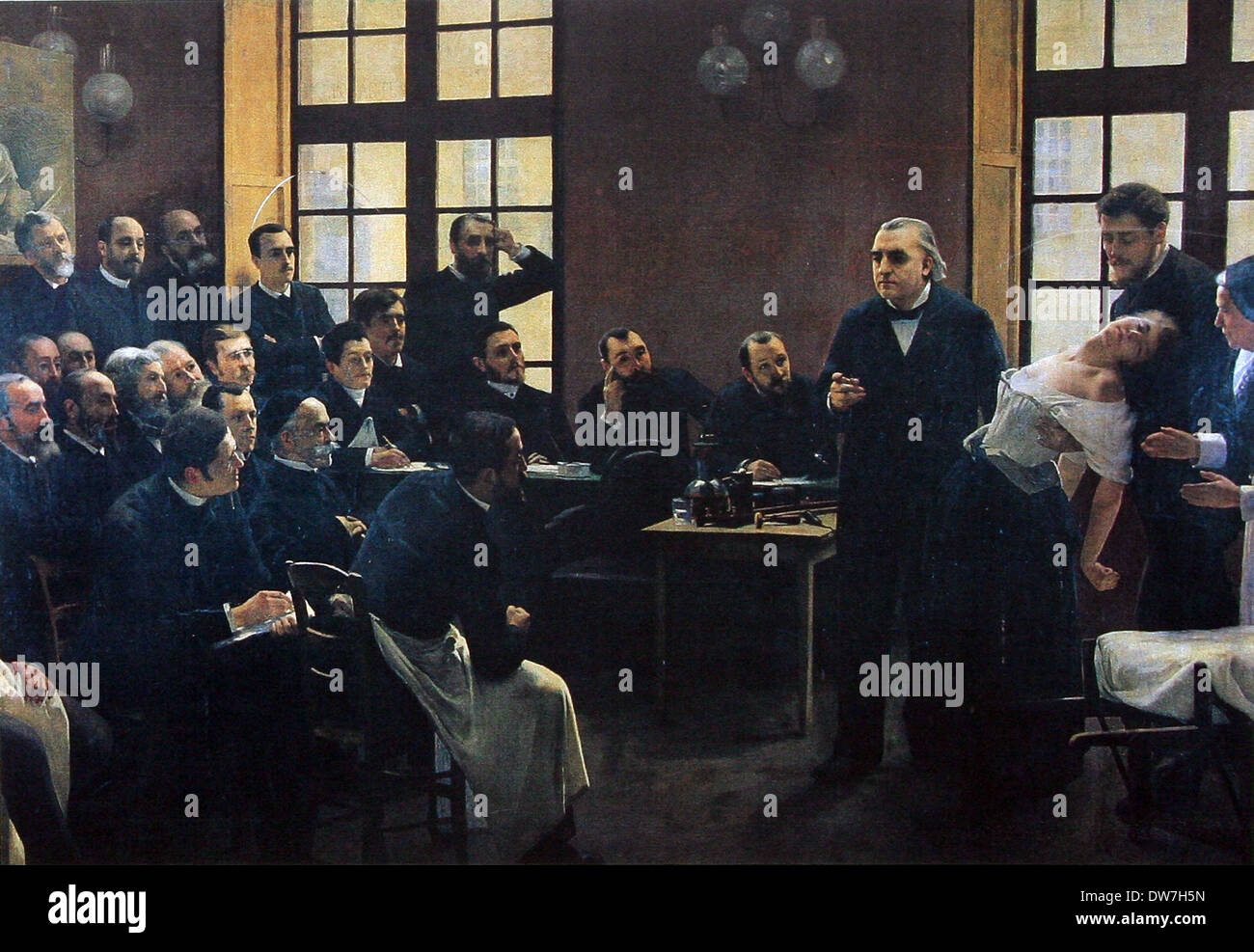 A Clinical Lesson at the Salpêtrière depicting a Charcot demonstration - Stock Image