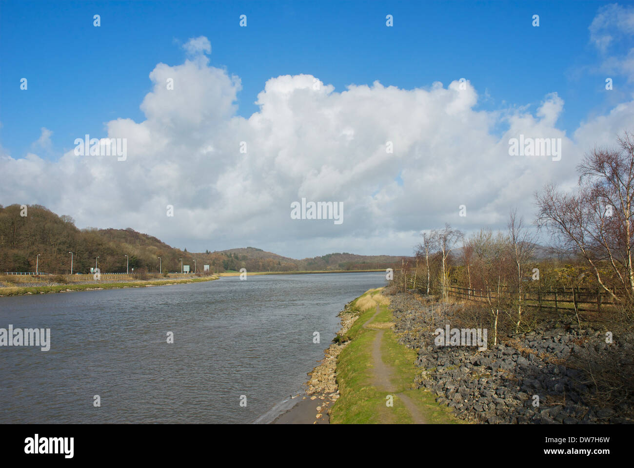The tidal estuary of the River Leven at Greenodd, South Lakeland, Cumbria, England UK Stock Photo