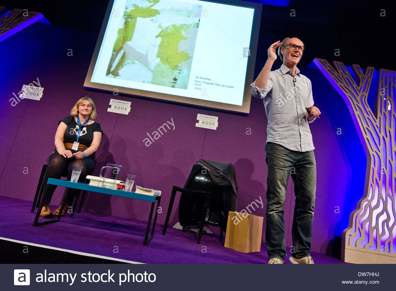 British broadcaster and writer Will Gompertz (right) at the Edinburgh International Book Festival. He is the BBC's arts editor. - Stock Image