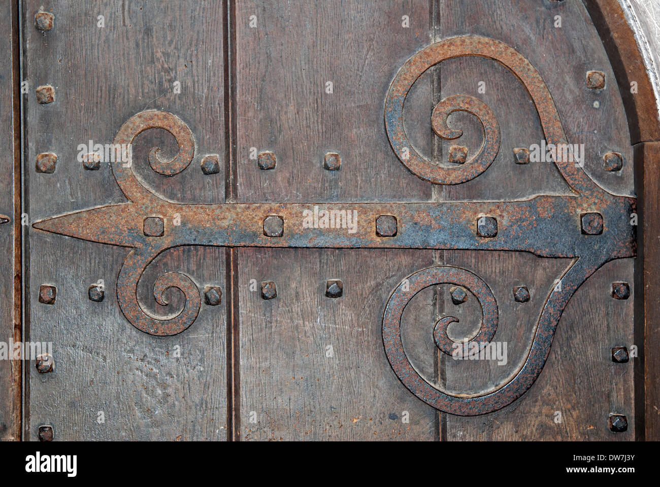 a medieval style door hinge - Stock Image