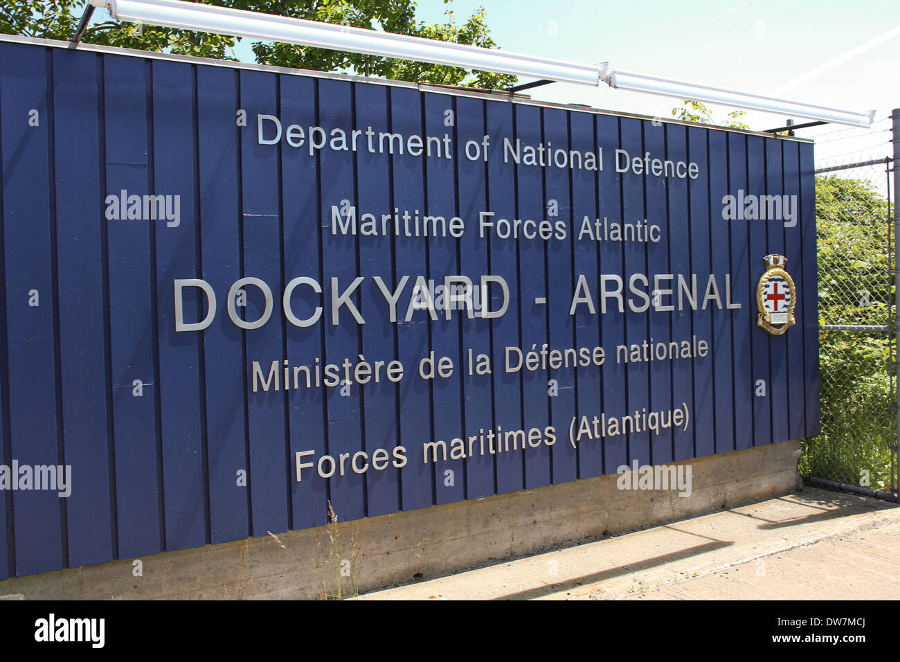 The entrance to the HMC Dockyard in Halifax, N.S. - Stock Image