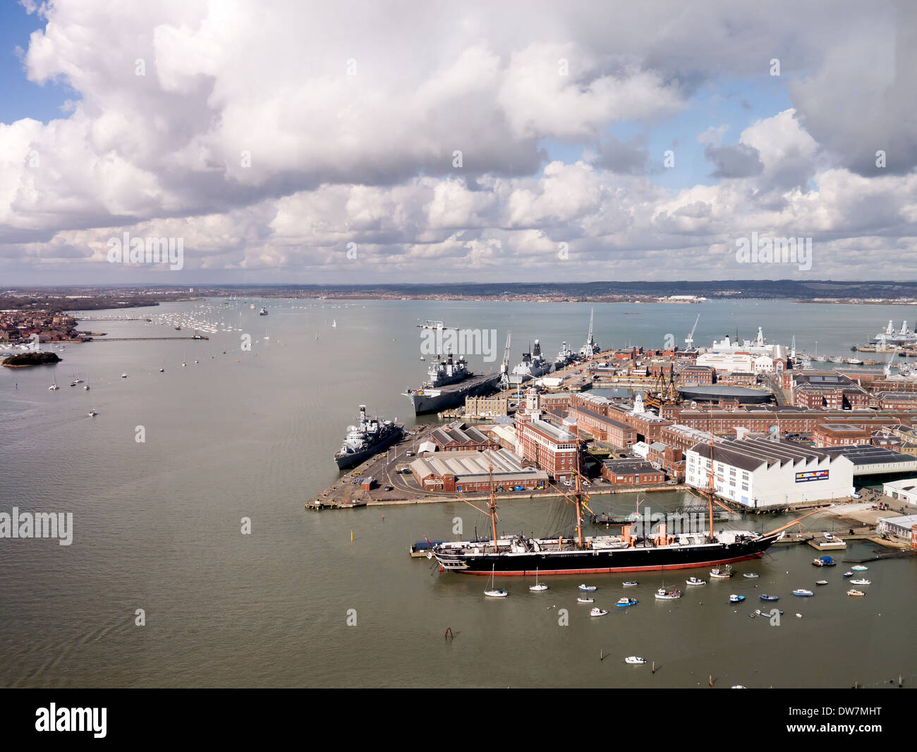 Portsmouth harbour and Naval Dockyard - Stock Image
