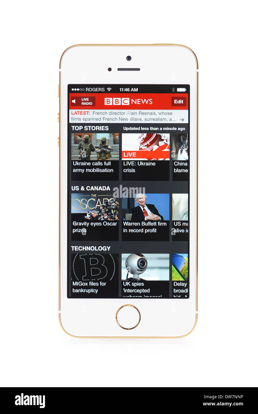 BBC News screen on iPhone 5S, iPhone 5 S - Stock Image