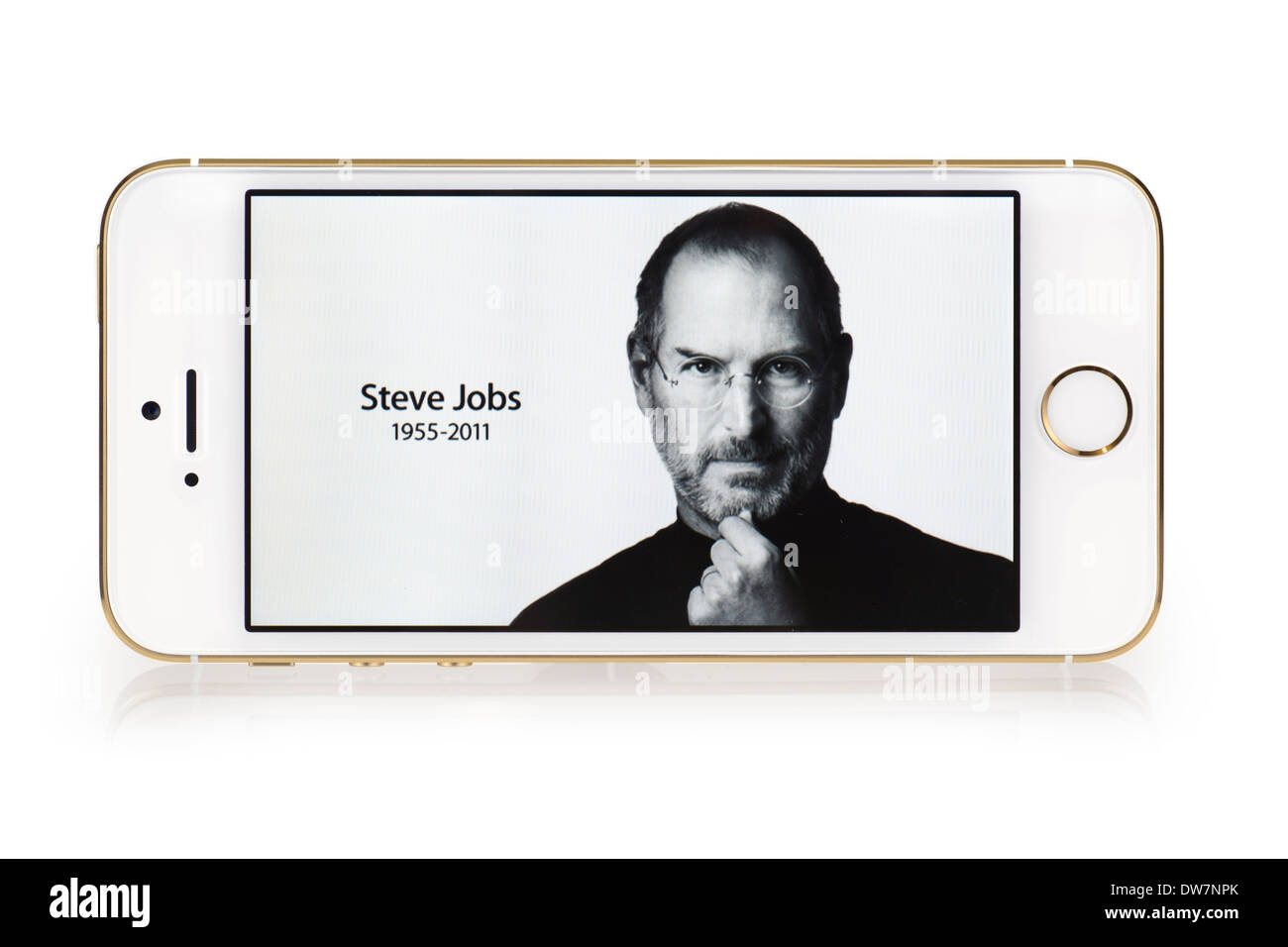 Steve Jobs image on iPhone 5S screen, iPhone 5 S White Gold - Stock Image