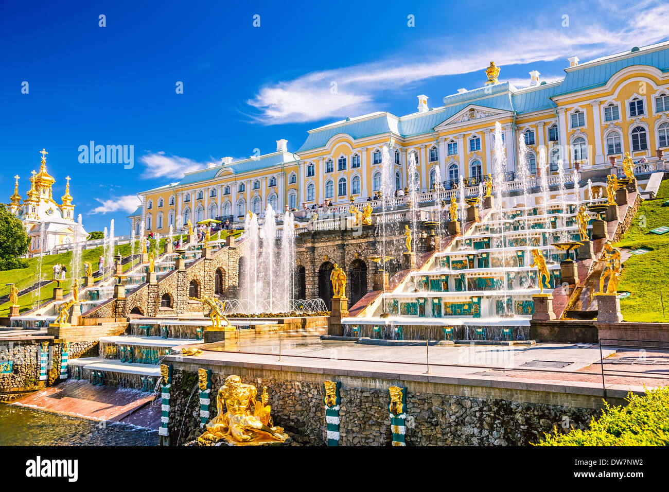 Grand Cascade in Peterhof, St Petersburg - Stock Image