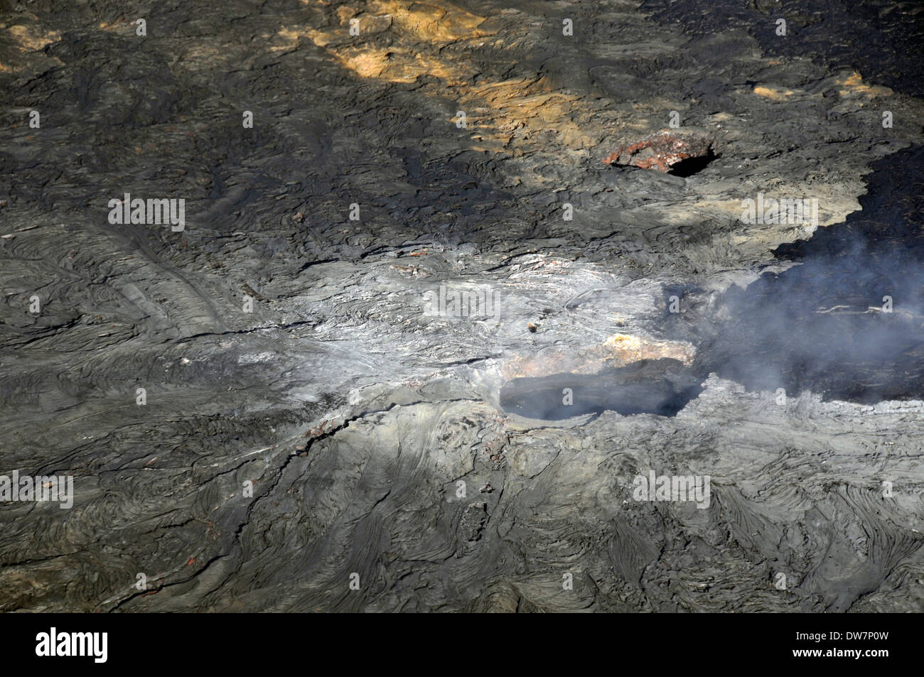 Aerial view of an active vent in the Kilauea volcano crater, Hawaii Volcanoes National Park, Big Island, Hawaii, USA - Stock Image