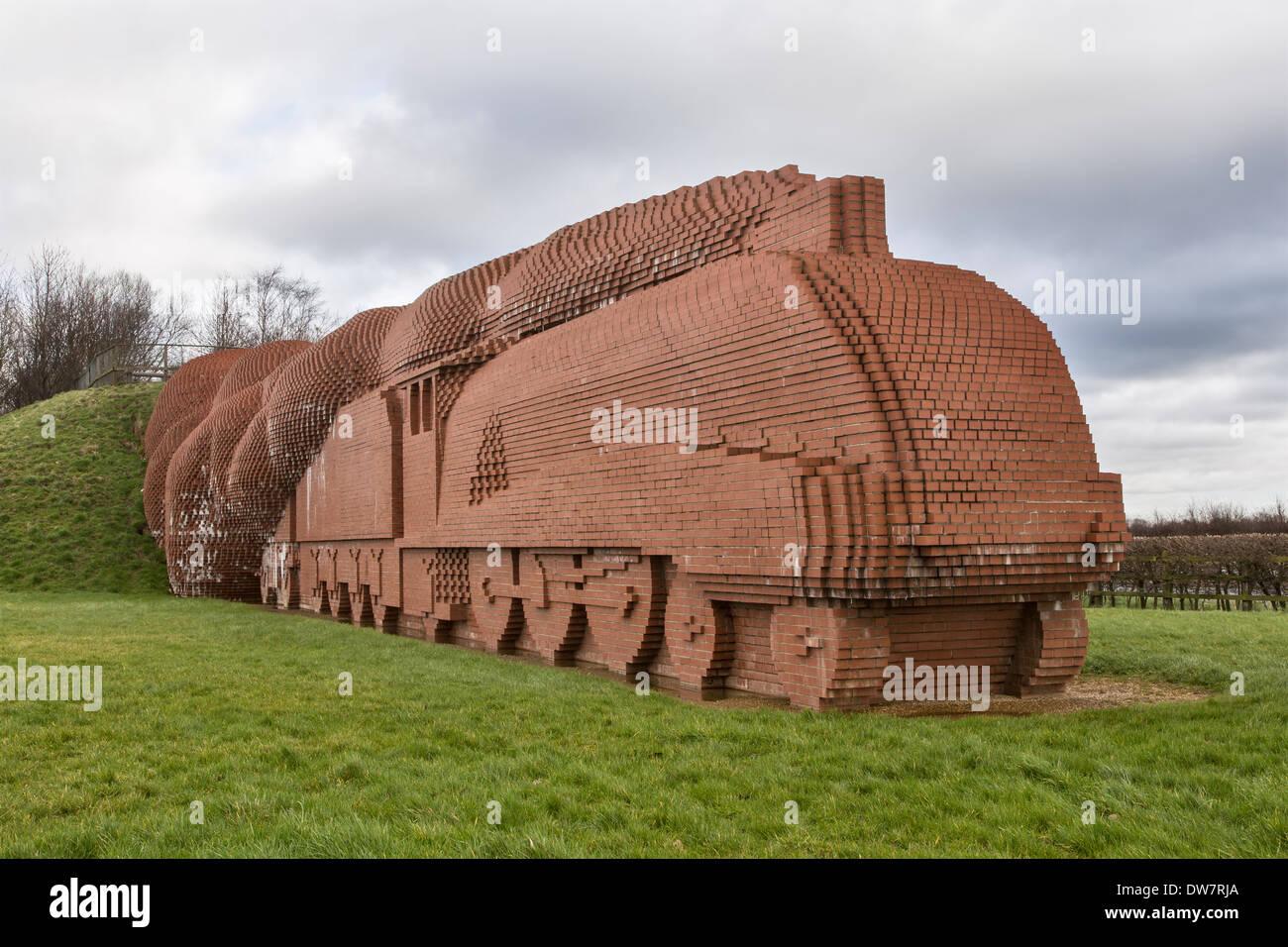 The Brick Train, Darlington, by sculptor David Mack, completed 1997. Modelled on steam locomotive 'Mallard' - Stock Image