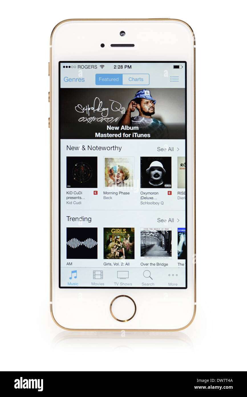iTunes Music on iPhone 5S, list, selection, menu of music on Screen iPhone 5 S - Stock Image