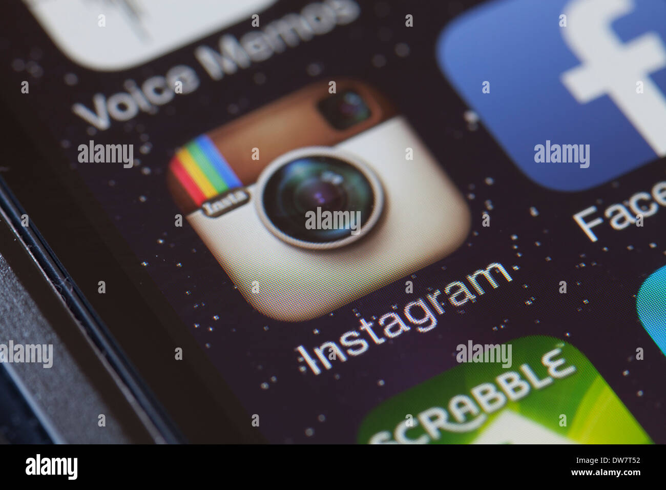 Instagram app icon on mobile phone. - Stock Image
