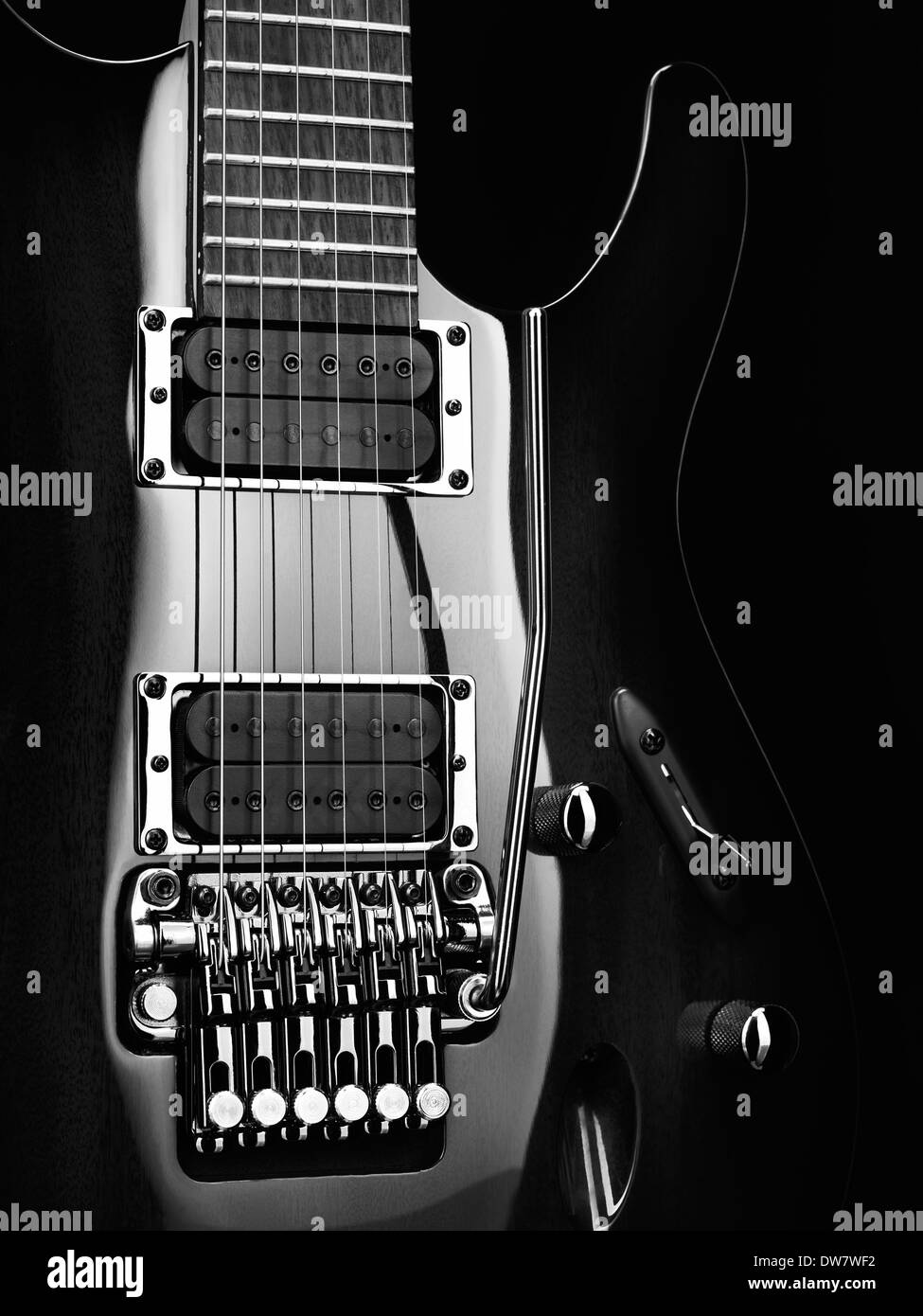 Artistic Closeup Of An Electric Guitar Ibanez With Chrome Parts On