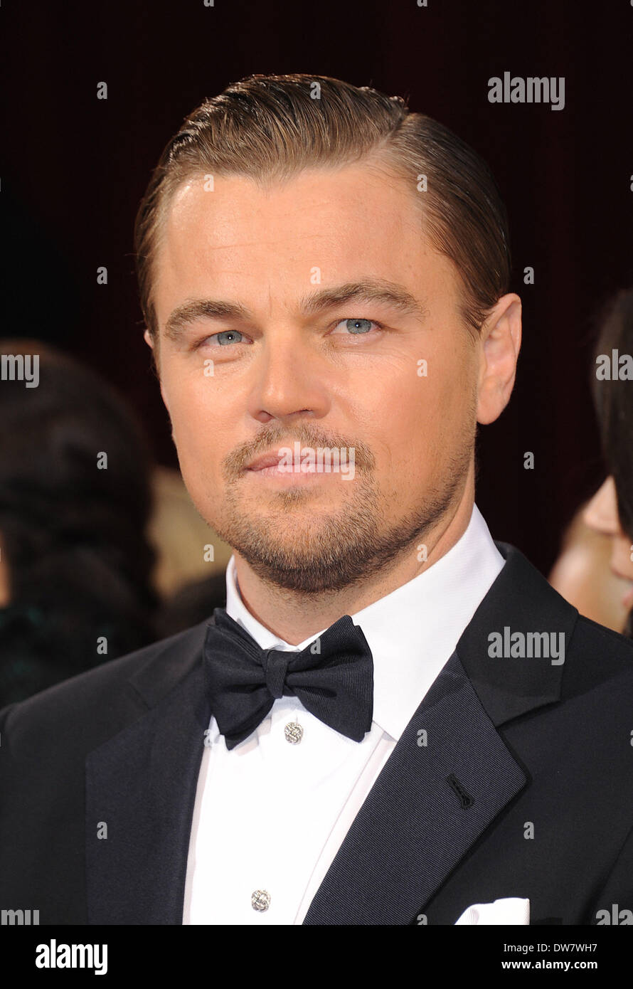 Hollywood, California, USA. 2nd Mar, 2014. LEONARDO DICAPRIO, a nominated for an Oscar for best actor in a leading role for his work in 'The Wolf of Wall Street' arrives wearing a Tom Ford tuxedo at the 86th Academy Awards at the Dolby Theater. Credit:  Lisa O'Connor/ZUMA Wire/ZUMAPRESS.com/Alamy Live News - Stock Image