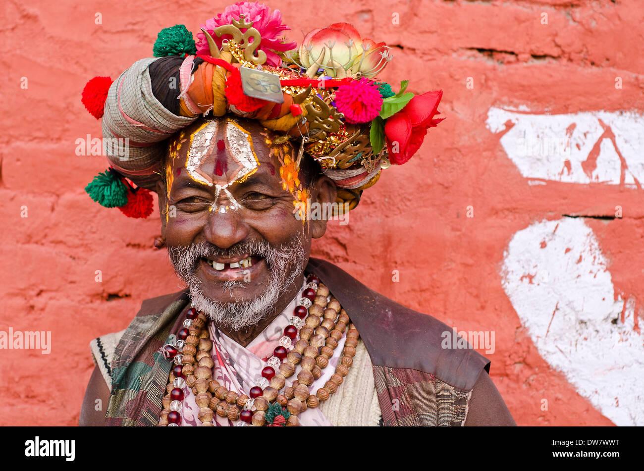 Sadhu at Pashupatinath during annual Shivaratri festival,Kathmandu,Nepal - Stock Image