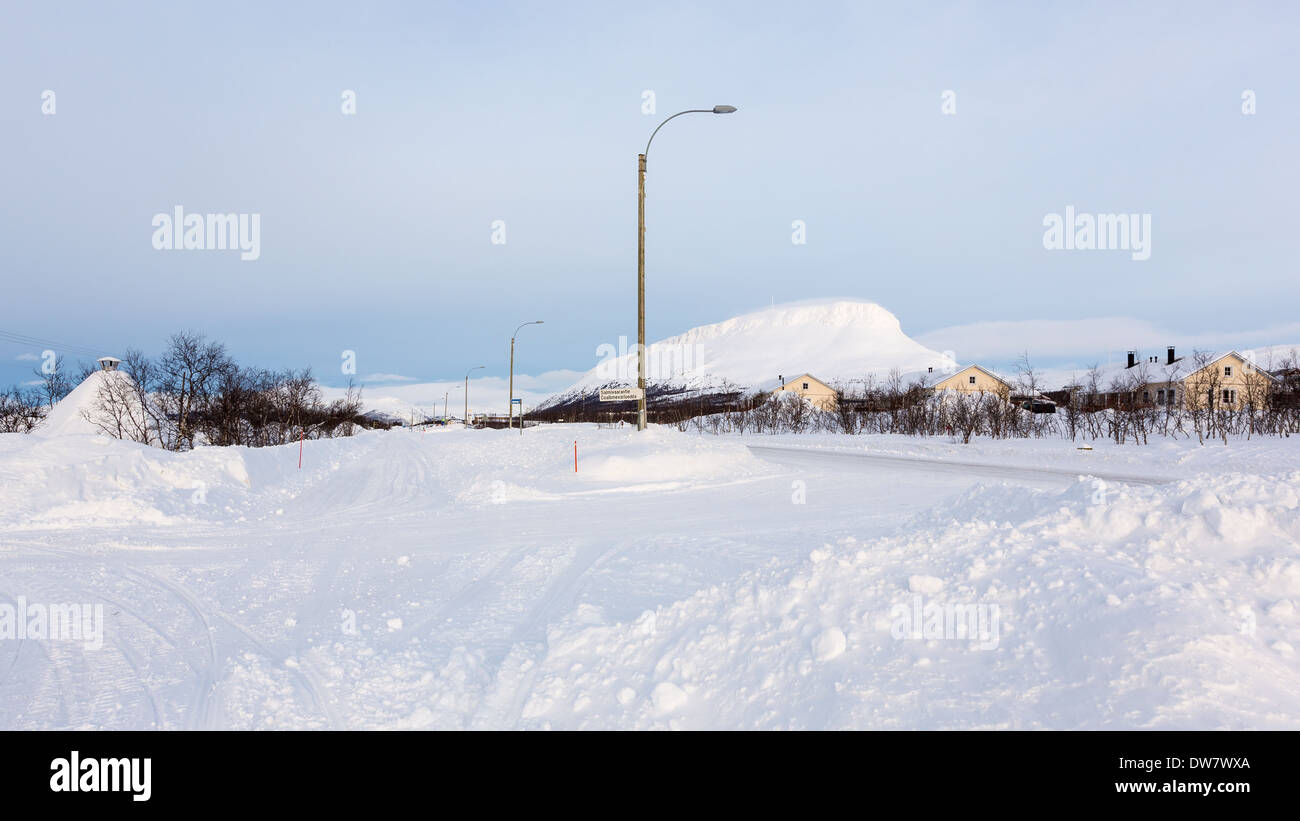 A view towards Saana fell from Kilpisjärvi town, Finland, EU - Stock Image