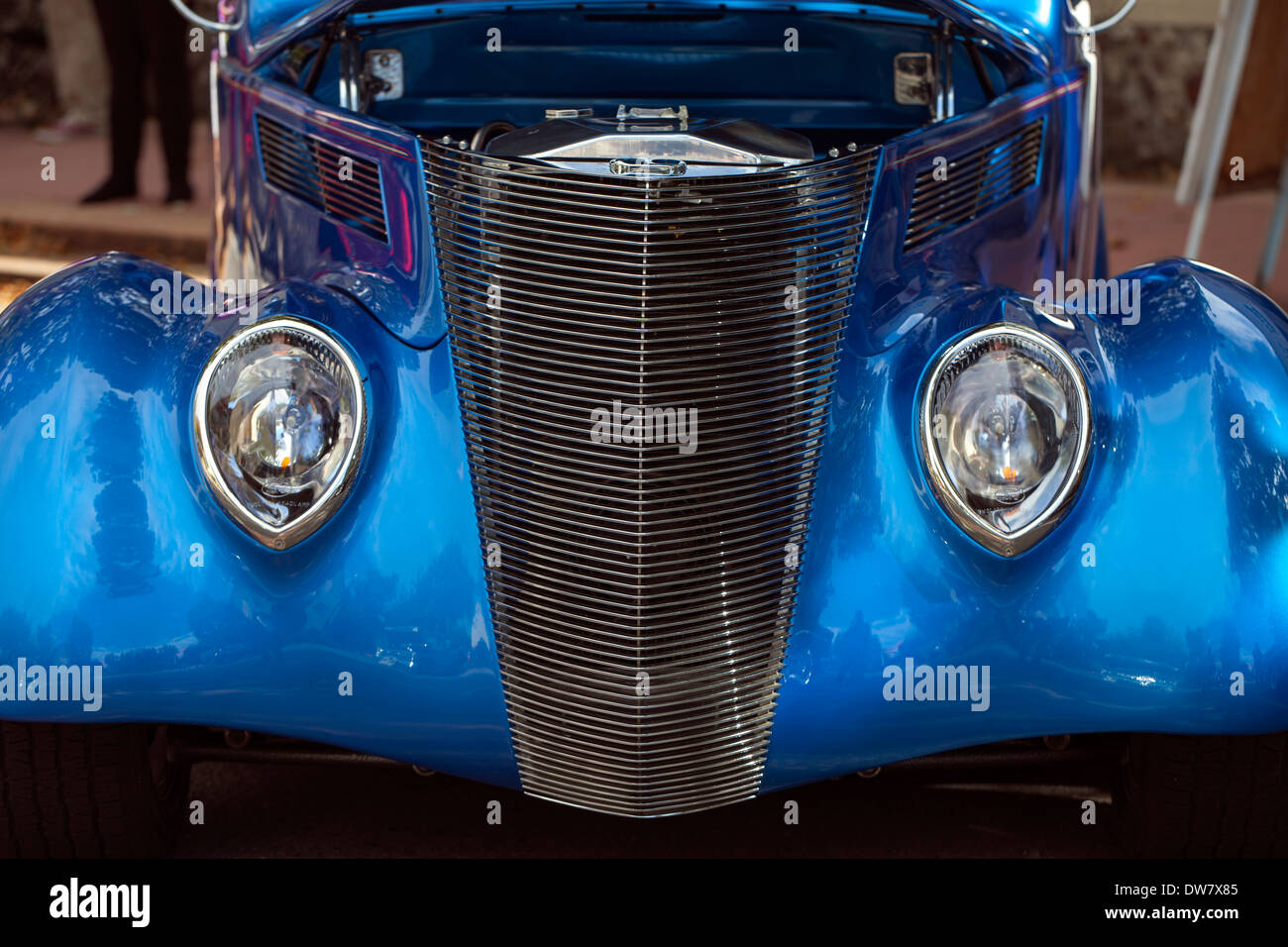 Frontal shot of a 1938 Ford Coupe at a car show in Novato, Marin County, California, USA. Stock Photo
