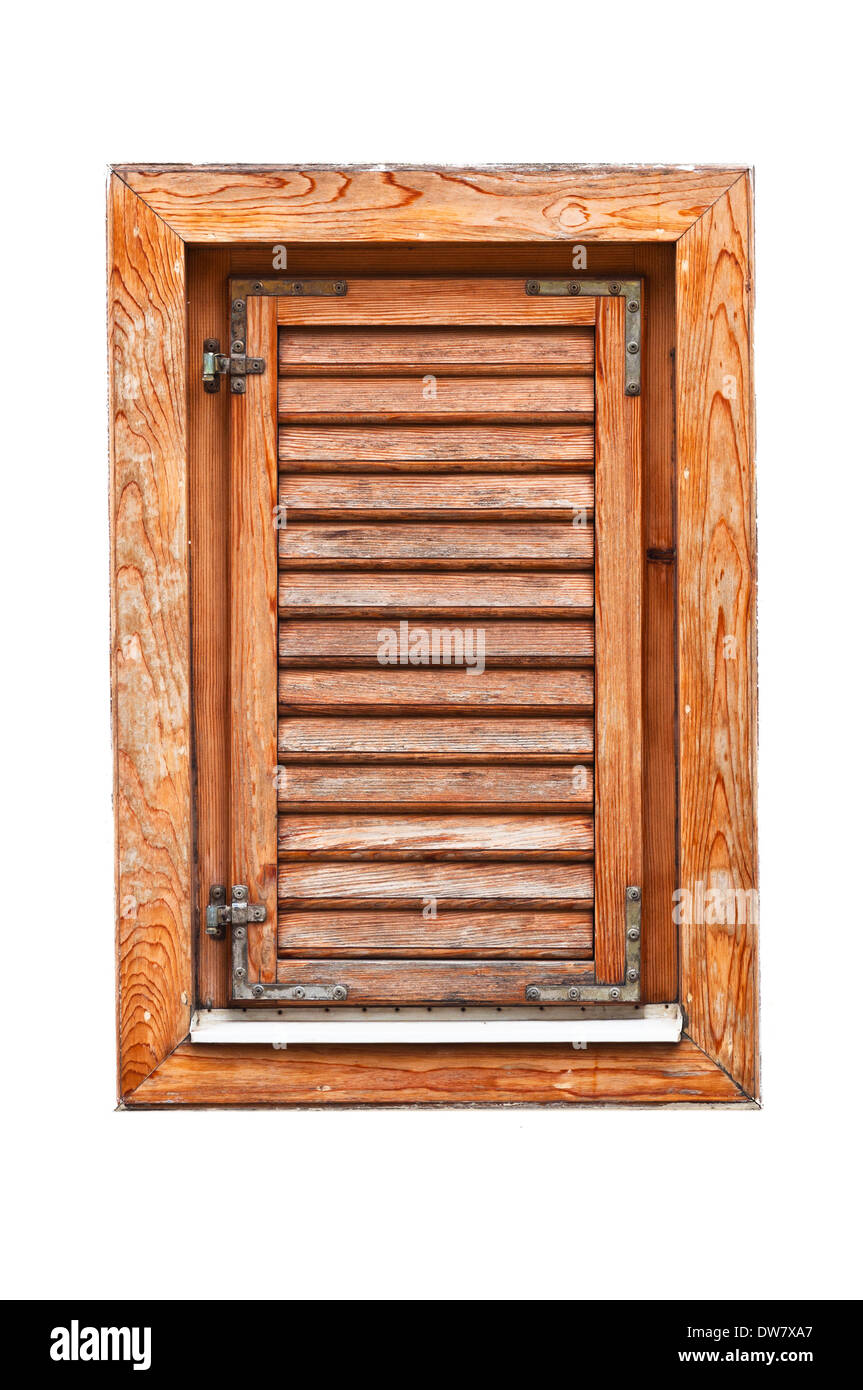 Italian Style Wooden Window With Closed Shutter Blinds On