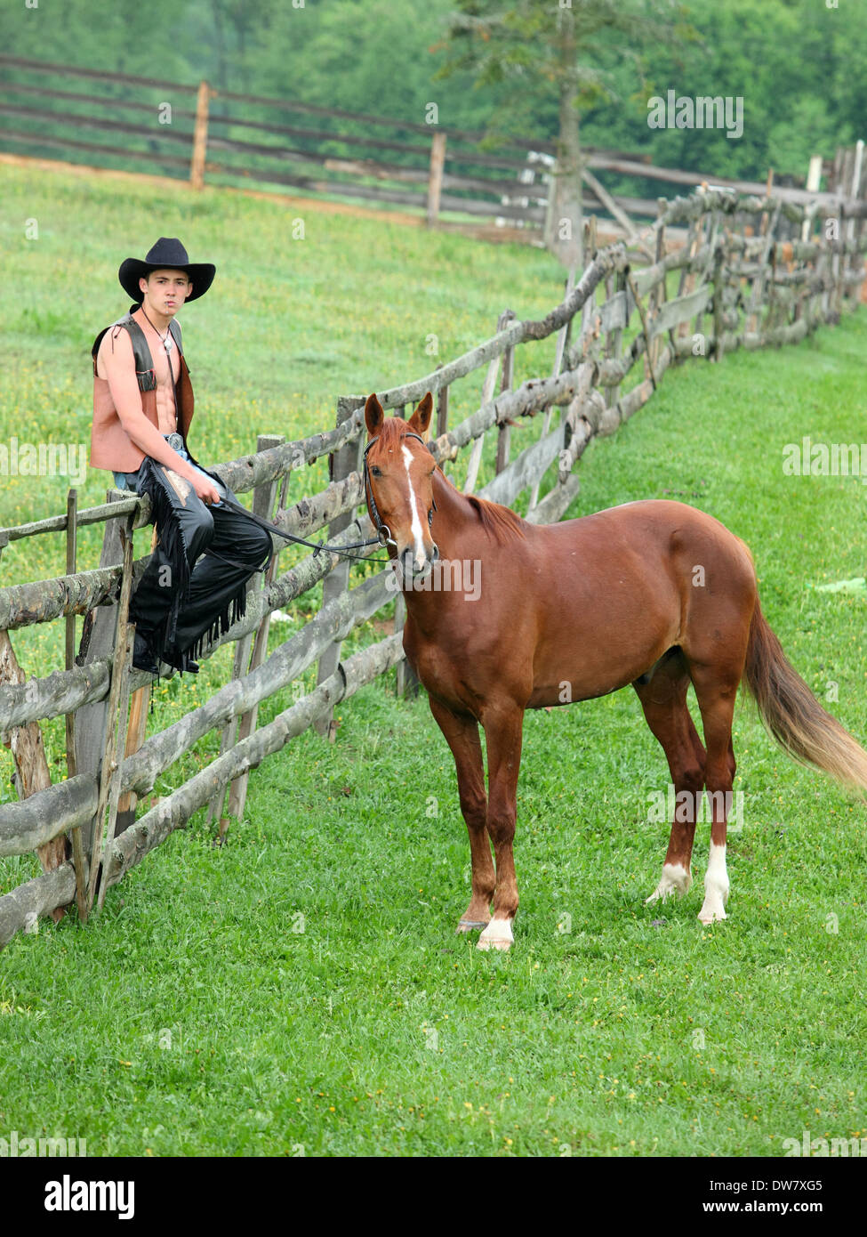 Man in cowboy clothes sitting on the fence beside the horse - Stock Image