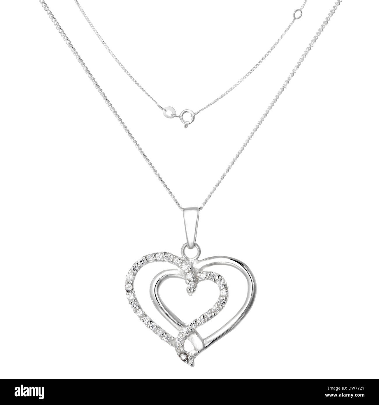 Silver necklace and pendant in the shape of heart - Stock Image