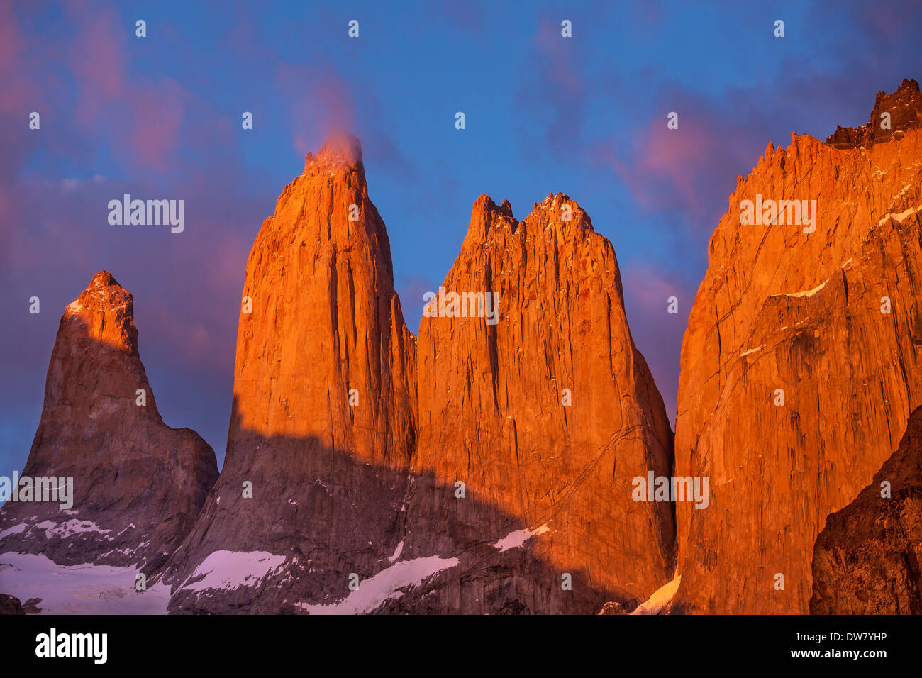 Towers at sunrise, Torres del Paine National Park, Patagonia, Chile - Stock Image