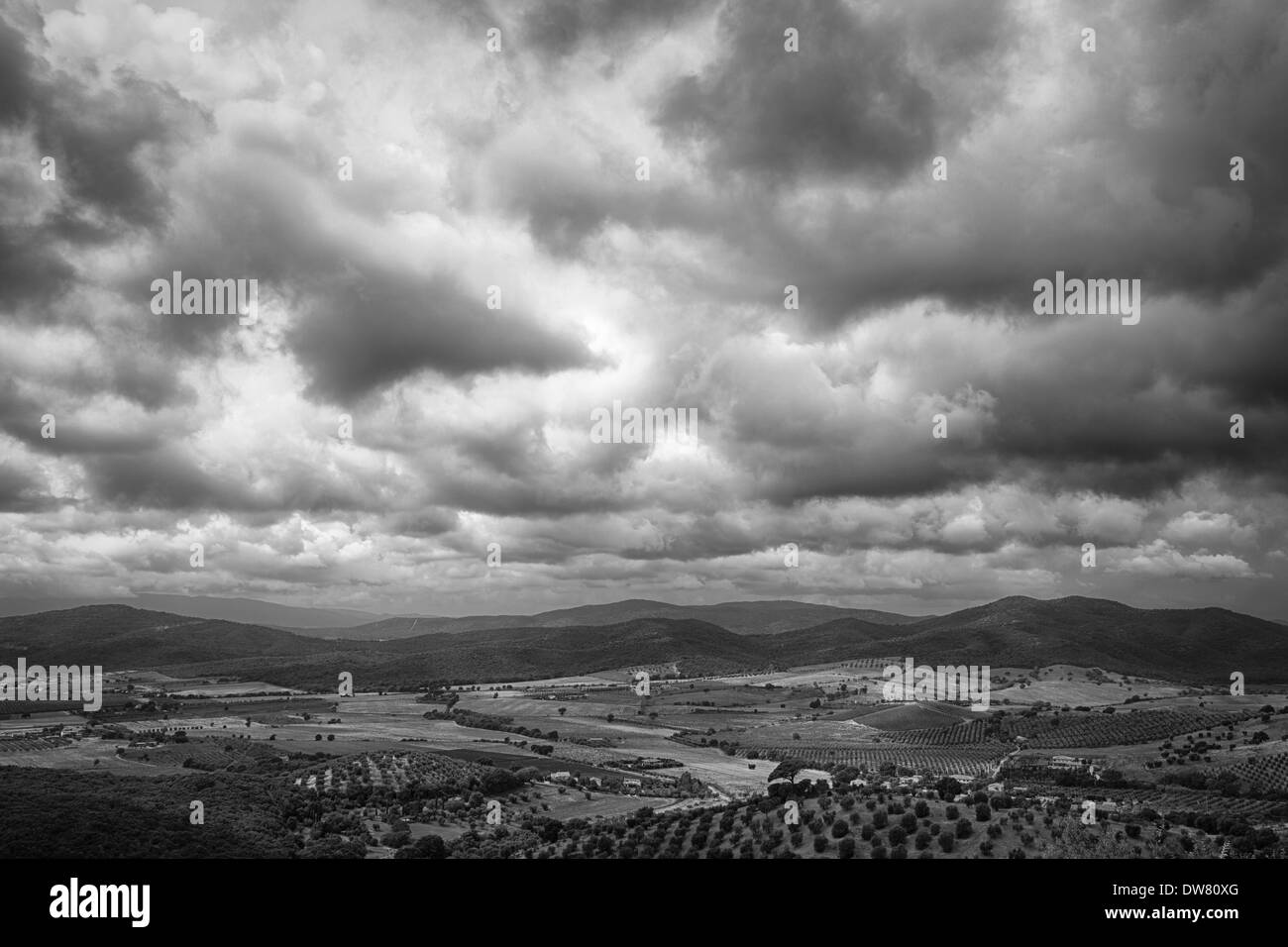 A view, in black and white, of Maremma hills, near Capalbio, Tuscany, Italy, Europe - Stock Image