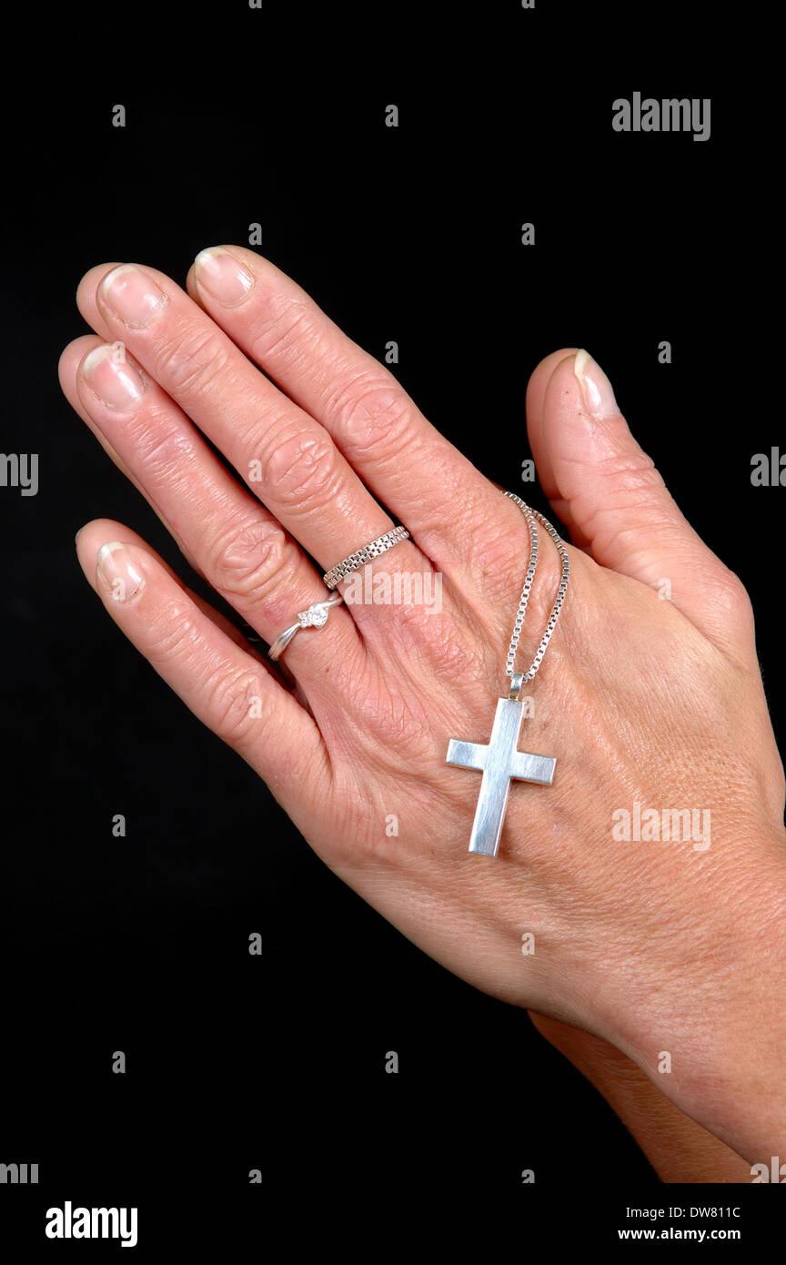Praying Woman On Black Background Stock Photos & Praying Woman On ...