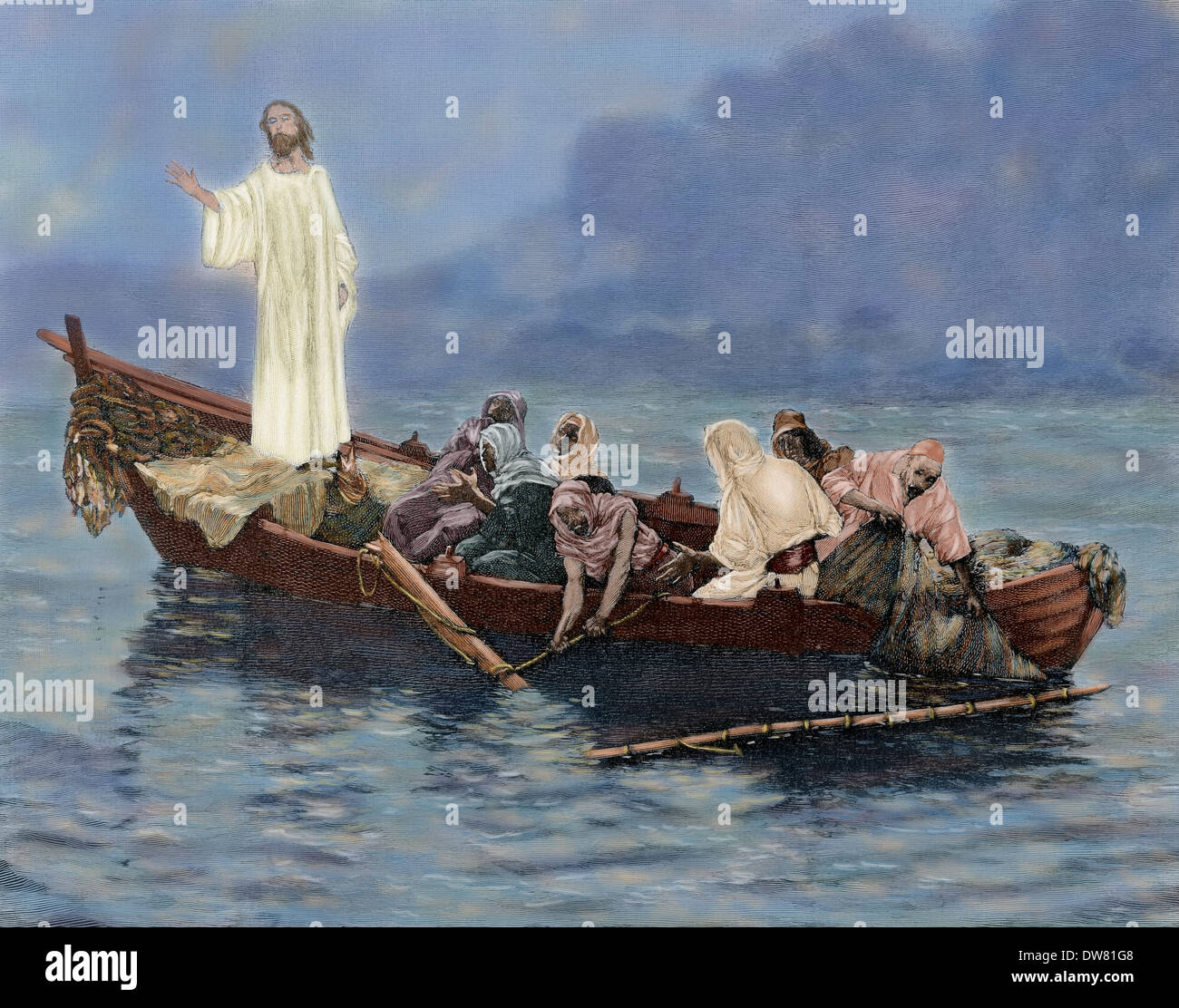 New Testament. Jesus. Where is your faith? After a painting of G. Guida. Engraving by Mancastropa. Colored. - Stock Image