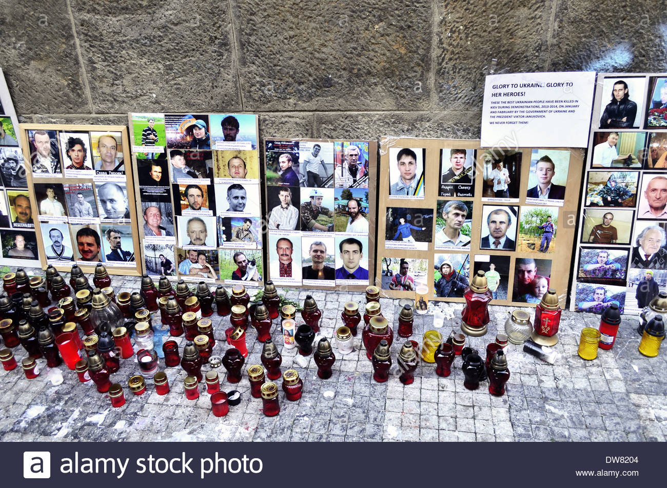 Memorial to the Ukrainian people killed during Kiev demonstrations in January and February 2014, Prague Czech Republic Europe - Stock Image