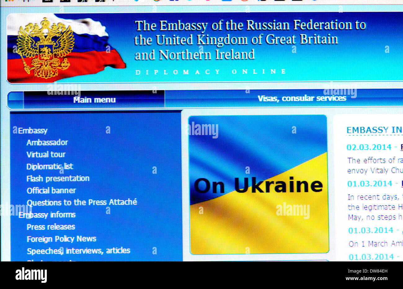 Computer screen shot: Website of the Russian Embassy in London - Stock Image