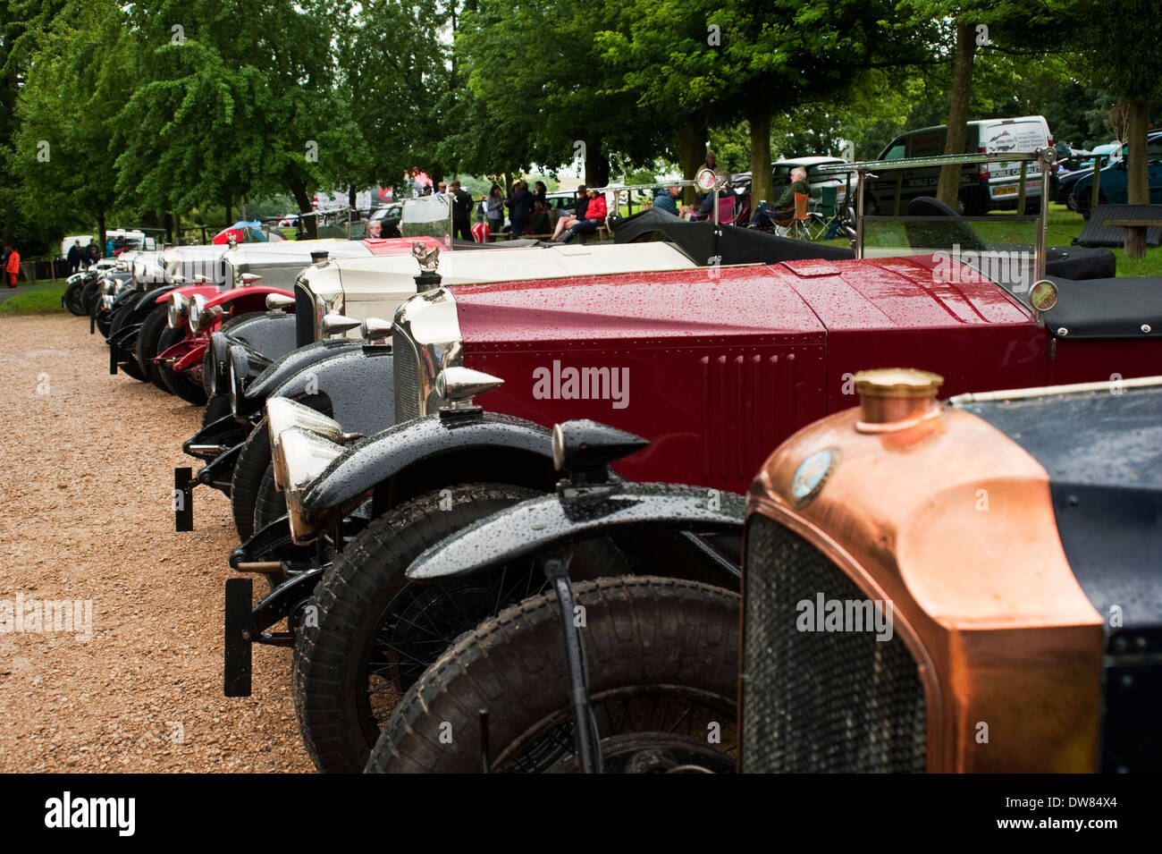 A row of vintage 1920s Vauxhalls at the VSCC Prescott Speed Hill Climb, Gloucestershire, England, UK. - Stock Image